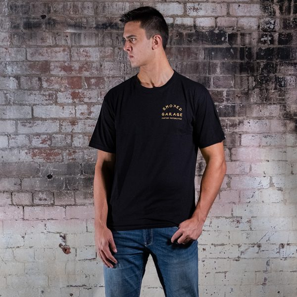 Custom Motorcycle Tee Black - Smoked Garage