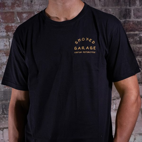 Custom Motorcycle Tee Black - Smoked Garage Front