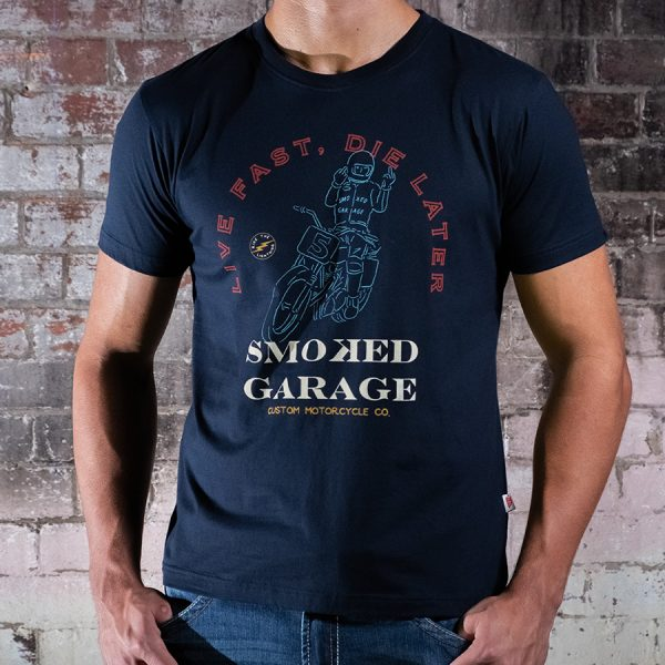 Live Fast Die Later Tee Black Front Smoked Garage