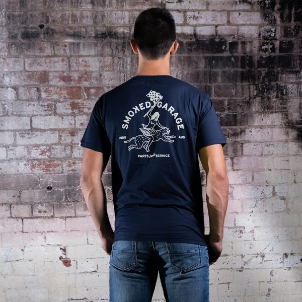 Parts & Service Racing Tee Navy Back Wide