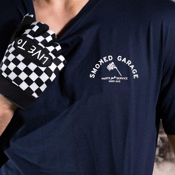Parts & Service Racing Tee Navy Smoked Garage
